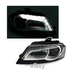 2 Feux Avant Led Fond Noir Pour Audi A3 3p/5p Sportback De 07/2008 A 2012
