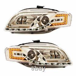 2 Feux Phare Avant Chrome A Tube Led Pour Audi A4 B7 De 11/2004 A 11/2007