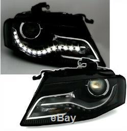 2 Feux Phare Avant Halogene & Led Look Xenon Pour Audi A4 8k B8