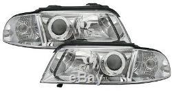 2 Optiques Avant Audi A4 B5 1999-2001 Avant Droit + Gauche Chrome Lisse