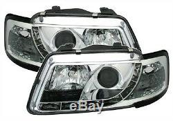 2 Phares Devil Eyes Audi A3 8l 1996-2000 Ambition Chrome Feux Avant