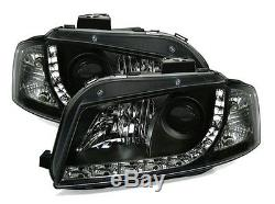 2 Phares Devil Eyes Audi A3 8pa Sportback 03-08 1.6 1.9 2.0 Tdi Avant Noir