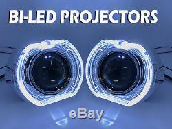 2 X 3 Complet Bi-Led Extension Projecteurs Lentilles H1 H7 H4 Halo Housse