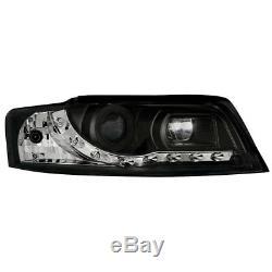 2 X Phares pour Audi A4 8E 01-04 Blocs de avant Voiture avec Led Noir/Noir