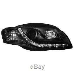 2 X Phares pour Audi A4 B7 04-08 Blocs de avant Voiture avec Led Noir/Noir