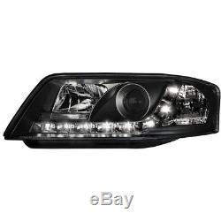 2 X Phares pour Audi A6 4B 97-01 Blocs de avant Voiture avec Led Noir/Noir