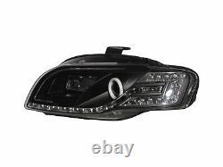A4/S4/RS4 B7 8E/8H 05-09 Cotton Halo LED Feux Avant Phare Black V1 for AUDI LHD