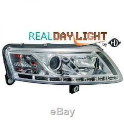 Adapté à Audi A6 04-08 Conduite à gauche Projecteur LED DRL Phare avant Paire