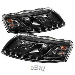 Audi 05-08 A6 Noir Phares Projecteur LED DRL Diurne 05 06 07 08
