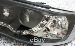Avant Phare Set pour Audi 100 C4 LED Lumière de Circulation Diurne Cff Look Noir