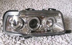 Chrome Led Ange Eyes de Phare avant Set pour Audi 80 B4 S2 Rs2 + Lwr Neuf