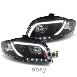 Feux Phares Avants Noirs De Jour Diurnes Drl Tube Led Light Bar Audi A4 B7 8h 0