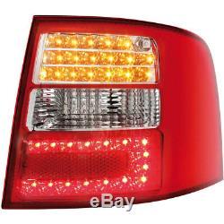 LED 2 X Feux Arrière pour Audi A6 avant 4B 97-05 Red/ Cristal/ Verre Transparent