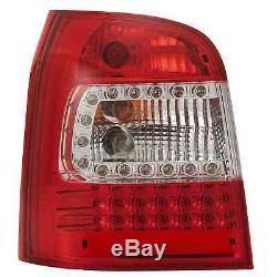 LED Arrière Feux pour Audi A4 B5 avant Année 94-01 Transparent Chrome Rouge