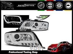 Neuf Feux Avant Phares Lpau93 Audi A6 2001 2002 2003 2004 Led Tube Lights Chrome