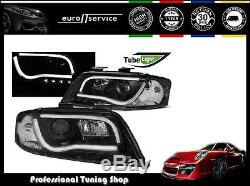 Neuf Feux Avant Phares Lpau94 Audi A6 2001 2002 2003 2004 Led Tube Lights Noir