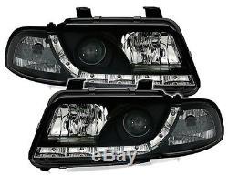 Optiques Avant Droit + Gauche Devil Eyes Noir Led Audi A4 B5 1994-1999 Avant