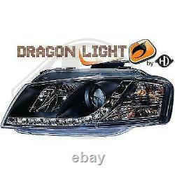 Paire de Phares Daylight Audi A3 8P 2003 a 2008 Noir Led