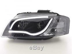 Paire de feux phares avant Audi A3 8P/8PA de 2003 a 2008 Daylight Led Noir