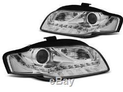 Paire de feux phares avant Audi A4 B7 de 2004 a 2008 Daylight cligno led chrome