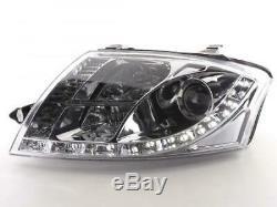 Paire de feux phares avant Audi TT 8N de 1999 a 2005 Daylight Led chrome