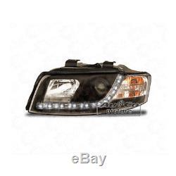 Phare avant Set Blocs de Phares avant de Voiture avec Led pour Audi A4 B6 Noir