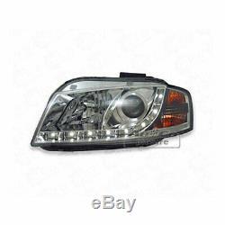 Phare avant Set LED Éclairage Diurne Optique pour Audi A3 8P Chrome