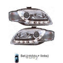 Phare avant Set pour Audi A4 8E 04-08 Soude / LED Dragon Lumières Clair/Chrome