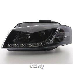 Phares Daylight à LED avec look feux de jour Audi A3 8P/8PA an. 03-07 noir FK AU