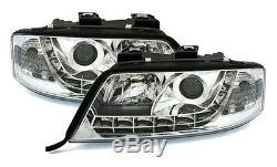 Phares Feux Avant Av Devil Eyes Led Chrome Audi A6 C5 4b 1997-2001 1.9tdi 2.5tdi