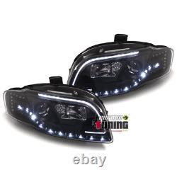 Phares Feux Avants Tube Light Bar Noirs Avec Clignotants Led Audi A4 B7 8h 0436