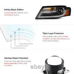 Pour 09-12 Audi A4 B8 Infinity Noir Projecteur Phare Avant DRL LED Léger Barre