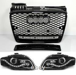 Pour Audi A4 B7 04-08 RS4 Look De Calandre Nid D'Abeille + LED Phares Pare-Chocs