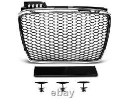Pour Audi A4 B7 04-08 RS4 Regardez Calandre Nid D'Abeille + Phares LED Barbecue