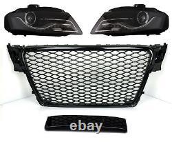 Pour Audi A4 B8 08-12 RS4 Look Calandre Nid D'Abeille + Phares LED Nebelblende 0